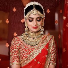 One needs to be sure of how they want to look on their biggest day before choosing your bridal look. Here are the list of top 51 Indian bridal makeup looks. Indian Wedding Makeup, Indian Bridal Outfits, Indian Bridal Lehenga, Indian Bridal Fashion, Indian Wedding Jewelry, Indian Makeup, Bridal Dress Indian, Pakistani Bridal Makeup Red, Indian Jewelry