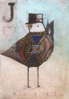 Fitts, 2010 My work is NOT to be copied, borrowed, distributed, m. Bird Jack of Hearts J Birds, Jack Of Hearts, Playing Cards Art, Art Trading Cards, Surrealism Painting, Mail Art, Teaching Art, Paper Art, Paper Crafts