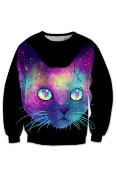 Hot Fashion 3D Cartoon Cat Printed Round Neck Long Sleeve Pullover Loose Sweatshirt