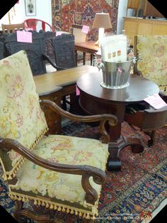 PAIR of 19 th c. FRENCH walnut armchairs. Were: $6K/ pair; NOW: $3600/PAIR!!!