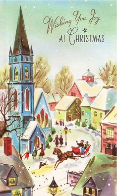 Shop Vintage Winter Christmas Village Scene Holiday Postcard created by ShepherdsGifts. Images Vintage, Vintage Christmas Images, Antique Christmas, Retro Christmas, Vintage Holiday, Christmas Pictures, Christmas Art, Christmas Greetings, Winter Christmas