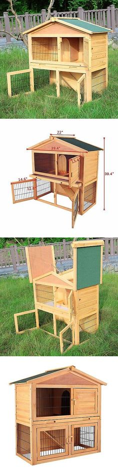 Backyard Poultry Supplies 177801: 40 Wooden Chicken Coop Rabbit Hutch Cage Hen House Pet Poultry Animal Cage Run BUY IT NOW ONLY: $72.9