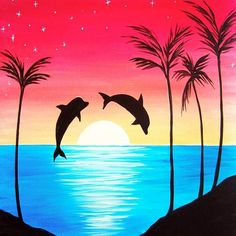 Dolphin Delight- Muse Paintbar - Acrylic and More Painting Painting easy Painting ideas Painting water Painting tutorials Painting landscape Painting abstract Watercolor Painting Simple Canvas Paintings, Oil Pastel Paintings, Small Canvas Art, Oil Pastel Art, Diy Canvas Art, Oil Pastel Drawings Easy, Oil Pastel Crayons, Dolphin Painting, Crayon Painting
