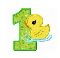 Duck Number 1 Applique - 3 Sizes!   What's New   Machine Embroidery Designs   SWAKembroidery.com Dollar Applique