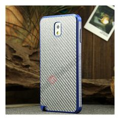Aluminium Metal Bumper and Carbon fiber Protective back Case For Samsung Galaxy Note 3 N9000 - Blue/Silver US$25.99
