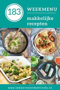 Weekmenu 183 makkelijke recepten voor het avondeten. Voor de hele week gezonde recepten voor het avondeten. Bekijk snel de recepten. Broccoli, Oven, Ethnic Recipes, Food, Essen, Ovens, Meals, Yemek, Eten