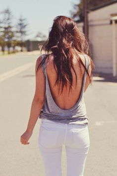 Love This Back Open Fashion   Grey back open style and white casual jeans the…