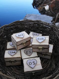 Ellen--- these are so YOU!    Personalized Wedding Ring Box  Romantic Woodland by hanscreations, $21.99