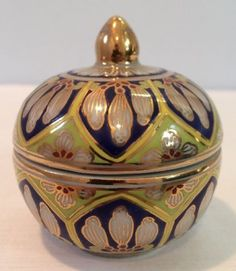 VTG-NOS-Hand-Painted-2-3-8-034-Asian-Porcelain-Covered-Box-Colorful-w-Gold-Thailand