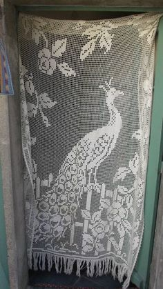 gorgeous vintage french lace PEACOCK AND FOLIAGE door/window panel!!