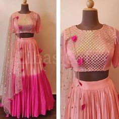 Indian Skirt, Dress Indian Style, Indian Fashion Dresses, Indian Designer Outfits, Indian Outfits, Indian Designers, Lehenga Choli Wedding, Pink Lehenga, Party Wear Lehenga