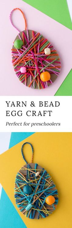 Just in time for Easter, kids can learn how to make a colorful Yarn Wrapped Easter Egg Craft at school or home. Such a pretty fine-motor craft for kids! #eastercraftsforkids #easyeastercrafts #preschoolcrafts #preschooleastercrafts #yarnwrappedeggcraft #eggdecoratingideas
