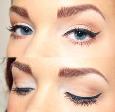 Beautiful long lashes and gold/brown eyeshadow on blue eyes is perfect. Get amazing eye makeup from liners to lashes at Beauty.com.