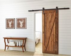 Add a bit of charm to your house with a Colonial Elegance® Rustic Rolling Barn Door Kit. In a Matte Black Finish, this stylish set has all the mounting hardware you need to turn a simple interior door into the focal point of any room. Sliding Door Rail, Sliding Barn Door Hardware, Interior Railings, Interior Barn Doors, Knotty Pine Doors, Ideas 2017, Rustic Doors, The Doors, Reno