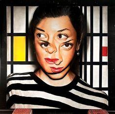 Victor Rodriguez, Double Bernini-Mondrian, I can't look at it my eyes go weird Fine Art Photography, Portrait Photography, Kaleidoscope Images, Wtf Face, Acrylic Canvas, Acrylic Paintings, Mondrian, Hyperrealism, Portrait Art