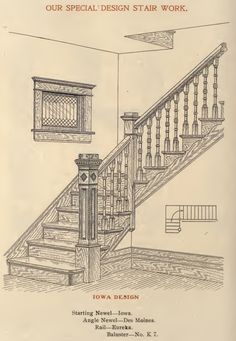 A stair design option, called Iowa, from a 1908 Adams & Kelly millwork catalog.