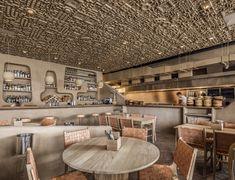 Outdoor Restaurant Design, Restaurant Bar, Restaurant Mexicano, Axonometric View, Bar Design Awards, Spanish House, Ceiling Panels, Open Kitchen, Textured Walls