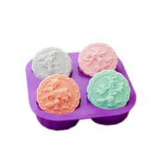 X-Haibei 4-Cavity Four Seasons Tree Soap Round Silicone Molds Candle Making for Homemade
