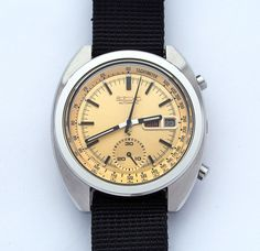Vintage Seiko 6139-6015 automatic chronograph from 1977 http://adventuresinamateurwatchfettling.wordpress.com/2014/03/26/a-little-bling-is-no-bad-thing/