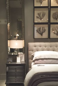 Restoration Hardware Tampa- Part One - Starfish Cottage Headboards, Gray Bedroom, Master Bedroom Idea, Restoration Hardware Bedroom, Gray Wall, Gray Headbo