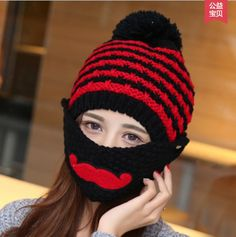 Winter Women's Knitted Hat Velvet Lining Caps 2017 New Design Hooded Ear Protection Autumn Winter Warm Hat with a Beard #Affiliate