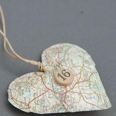 map ornament - where I was born;  where you were born;  where grammy lives, ....