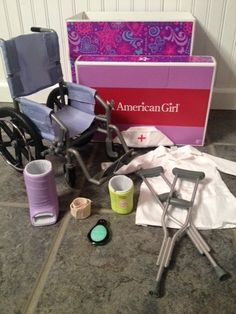 American Girl Doll Wheel Chair Wheelchair Crutches Cast Nurse Lot Euc