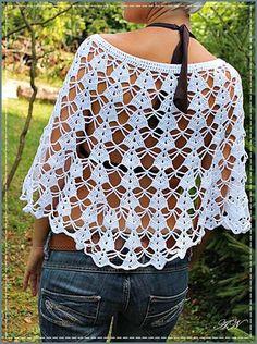háčkované pončo Crochet Bolero Pattern, Crochet Cape, Crochet Poncho Patterns, Crochet Collar, Crochet Cross, Crochet Jacket, Crochet Blouse, Love Crochet, Crochet Shawl