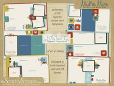 recipe card templates ::: muffin man Cookbook Ideas, Recipe Cards, Card Templates, Crafts To Make, Digital Scrapbooking, Invites, Thank You Cards, Free Printable, Stationary