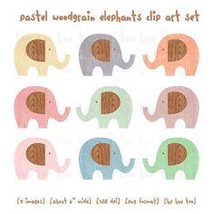woodgrain elephant clip art pastel elephant clipart wood by huetoo, $6.00