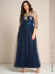Нарядные платья для полных девушек английского бренда Chi Chi, весна-лето 2017