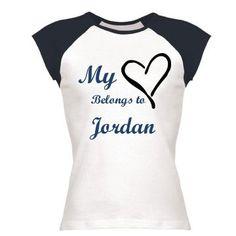 Belongs To Jordan: Custom Junior Fit Cap Sleeve Baseball T-Shirt