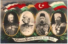 Leaders of the Central Powers in 1918 (left to right): Kaiser Wilhelm II of Germany, Kaiser Franz Joseph of Austria-Hungary, Sultan Mehmed V of the Ottoman Empire, and Tsar Ferdinand of Bulgaria. Wilhelm Ii, Kaiser Wilhelm, World War One, First World, Kaiser Franz Josef, Triple Alliance, Francisco Jose, Germany And Prussia, Austro Hungarian