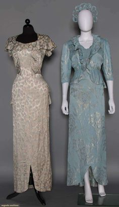 2 SILVER LAME & SILK EVENING GOWNS, 1940s 1 w/ small pale blue & silver leaf print; 1 baby blue w/ large lame blossoms, matching peplum jacket & coronet (war time bride?)