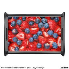 Blueberries and strawberries print serving tray