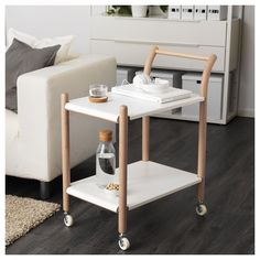 IKEA - IKEA PS 2017, Side table on casters, The side table can be used in many ways – as a work station, coffee table, kitchen cart or nightstand.Easy to move since the side table has casters and a handle at a convenient height.Two fixed shelves provide increased stability.