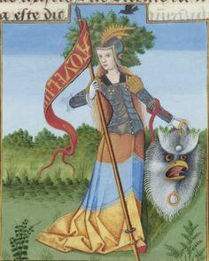 Bibliothèque nationale de France, Français 143, detail of f. 117v (Minerva). Évrard de Conty, Échecs amoureux. France (Cognac), c. 1496-1498. Artist: Robinet Testard.