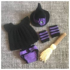 Crochet Witch costume. This sweet set is Size newborn. It should fit a baby up to 10lbs. This set includes: -A black witch hat with a purple stripe & purple flower with a green center. -A black lace inspired dress with a purple spider button on the back of the dress. -A purple diaper cover with black ruffle trim & two black buttons. -A pair of black & purple striped leg warmers. -A stuffed witches broom. Perfect little outfit for a Halloween baby, little babes newborn pictures ...