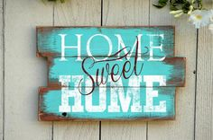 """Wood pallet sign with """"Home Sweet Home"""" hand painted on reclaimed wood pallet sign. Hand crafted in our studio. Fast turnaround. Order Yours Today!"""