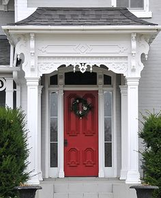 Paris, ON This is a large house in the countryside, built before central air conditioning; the large veranda would have been used regularly to cope with the summer heat. The front door is intricately carved and must be an absolute joy to paint. Victorian Front Doors, Victorian Homes, Folk Victorian, House Front Door, California Real Estate, Second Empire, Front Door Colors, Empire Style, Large Homes