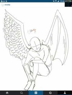 조로~! 선과악 인데 날게를 못완성,,ㅋㅋㅋㅋ(트레) Angel Drawing, Drawing Base, Demon Drawings, Art Drawings, Poses References, Art Prompts, Art Base, Drawing Reference Poses, Drawing Challenge