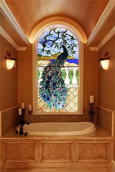 Peacock Stained Glass ▇  #Home #Bath #Decor  via - Christina Khandan  on IrvineHomeBlog - Irvine, California ༺ ℭƘ ༻