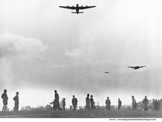 """Dutch people on the ground waited for food parcels to drop from Allied bombers. By the end of World War Two, 20,000 Dutch civilians had starved to death. Flight-Sergeant Gibson wrote: """"I will always remember seeing: 'Thank you, Tommy' written on one of the roofs . . . those flights were a beautiful experience, it was as if we brought the liberation closer to reality."""""""
