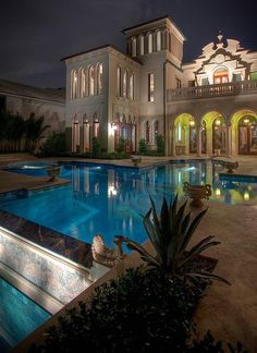 Architecture. Mansion. Pool.