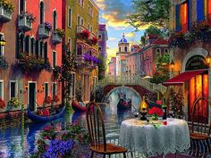 Venice Al Fresca Art Landscape Artwork Wide Screen Cafe Painting Water Italy Scenery Illustration Canal Free Desktop Background Venice Painting, Diy Painting, Venice Restaurants, Romantic Scenes, Paint By Number Kits, Landscape Artwork, Cecile, Grand Canal, Home Decor Pictures