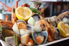 Fresh, local seafood. The Chameleon Seafood Platter; a collection of crayfish, paradise prawns, scallops mussels, storm clams and garlic bread.