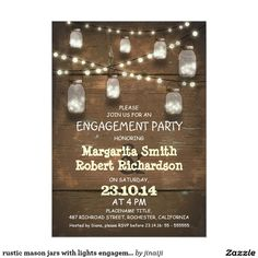 rustic mason jars with lights engagement party