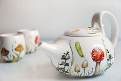 Hand Painted Ceramic Tea Set -  Shrooms and Grass Collection. Cuuuuuute!
