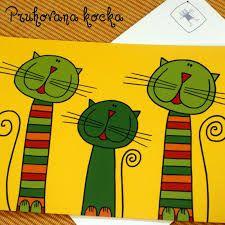 Výsledek obrázku pro malovaná kočka Painting For Kids, Art For Kids, Crafts For Kids, Kindergarten Art, Preschool Art, 5th Grade Art, Cat Cards, Autumn Art, Stick Figures