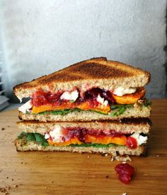roasted yam, cranberry   feta sandwich.